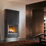 rivestimento camino moderno legna gas piazzetta life maiolica colore nero