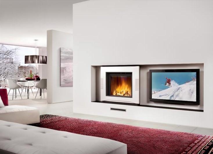 rivestimento caminetto stile moderno con televisione berna piazzetta